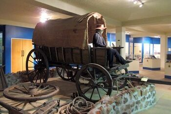 Voortrekker wagon exhibit at the Voortrekker Monument, Pretoria, Tshwane, Gauteng